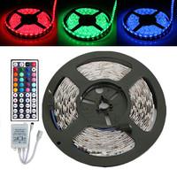 Free ship RGB 5M 5050 60 LED NON-Waterproof RGB Strip 12V 55W LED Strip Light for Holiday + 44 Key IR Controller