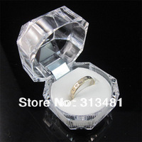 Free Shipping 20pcs/lot 4*4cm Strong Steady Transparant Acrylic Plastic Ring Boxes Jewelry Display Case FGR6