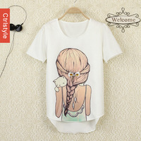 Ctrlstyle Fashion 2014 clothes women  chiffon shirt  diamond beauty bow short-sleeve chiffon blouse t shirt girl and cat