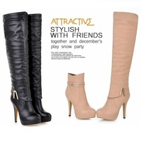 Knee High Boots & Ankle Boots Dual Purpose,Black Beige Women High Heel Platform Boots Removable Shaft Shoes botas femininas