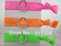 Free shipping 30pcs/lot 5/8 inch Frosted Glittr Velvet Elastic hair tie With Rhinestone elastic wristbands ponytail holder