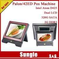 "DHL Free Shipping POS system Newest Palon 42ED Dual Screen Intel D425 CPU 2GB DDR3 320GB HDD 15"" TFT LCD For Restaurants"