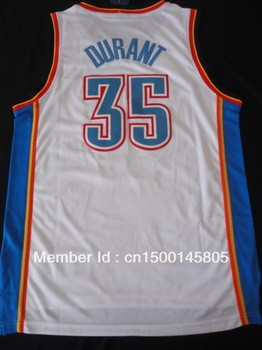 Oklahoma City 2013 new season Kevin Durant  #35 mens Embroidery basketball jersey custom name number logo white blue