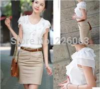 Women's Tops 2014 Fashion Summer Women OL Peter Pan Collar Chiffon Shirts Blouses Ladies' Ruffles Plus Size Short Sleeve 5XL