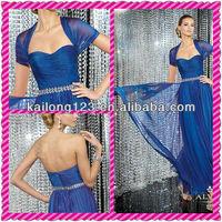 Sleek Shawl Sleeve Detachable Wrap Sweetheart Pleated Bodice Beaded Waist Flowing A-Line Chiffon Blue Fancy Evening Dresses