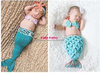 Free Shipping 3pcs Kid Infant Newborn Baby Girl Knit Crochet Mermaid Clothes Photo Prop Outfit Set Suit Costume Sweater Blue