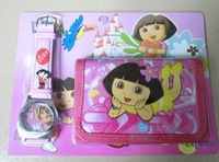 LOVELY Dora the Explorer Boots The Monkey Kids Watch & Money Purse Wallet  1pcs