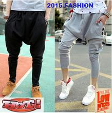 Free Shipping New Fashion Plus Size Male Slim Casual Trousers Big Drop Crotch Sweatpants Women Dance Hip Hop Men Harem Pants(China (Mainland))