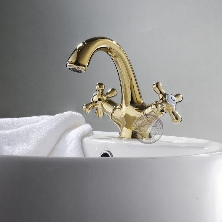 Water Cuarto De Baño:Cuarto de baño del grifo– de doble mango de color de oro