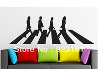 Free Shipping THE BEATLES ABBEY ROAD MUSIC Wall Stickers Decal DIY Home Decoration Wall Mural Removable Room Stickers (95x 28cm)