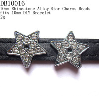 10mm Vogue Crystal Stud Metal Stars Charms Beads,fits 10mm Leather Band,Free Shipping Wholesale 50pcs/lot