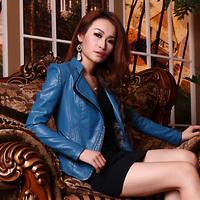 PU Female Clothing Women's Jacket Gold Zipper Fashion Stand Collar Slim Short Design Leather Coat 11012#