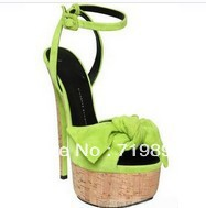 2013fashion  super high platform sandals bowtie suede women high heel sandals 18cm heel ankle strap sandals