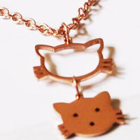 Floating Charms Lucky Cat Cartoon Kawaii Pendant Choker Necklace For Women Rose Gold Plated Brand Cute Sweet Jewelry