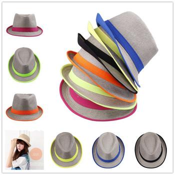 1pc Chose Colour Candy Color Men Women Fedora Panama Trilby NEON STRIP BOHO Cap Summer Beach Sun Straw Linen Hat Free shipping