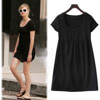 2014 new fashion Women plus size summer casual slim one piece short sleeve short black dress