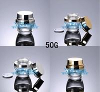 E2  Capacity 50g free shipping50pcs/lot Transparent Cream jar bright cover cream cans glass