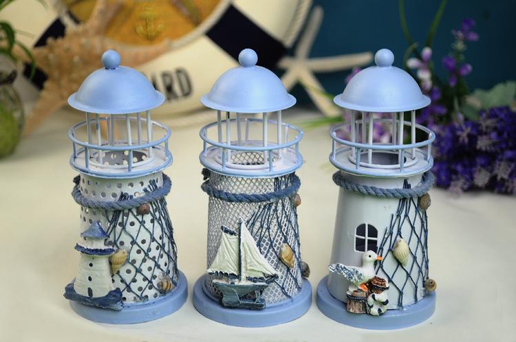 Lighthouse Candle Holder Lantern Iron Decoration Nautical Decor Small