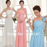 2014 One shoulder formal dress bride blue evening dress long design zipper style