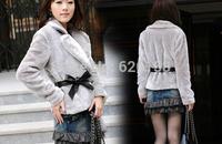 Hot Sale Korea Fashion Faux Fur Coat Rabbit Hair Lady Warm Coat Jacket Fluffy Short Outwear Belted b7 3376