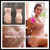FREE Shipping Sexy Gorgeous Pleated Rose Patterns Strapless cocktail Dress
