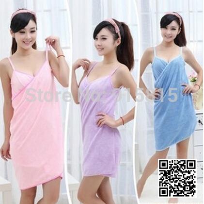 new 2014 Super absorbent spaghetti strap bath towel fiber solid color beach towel magical adult bathrobe bath(China (Mainland))