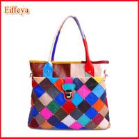 Holiday Sale Stylish 2014 Women Plaid Bag Lady Handbags Fashion Sheepskin Genuine Leather Purse Hobo Totes FLY30