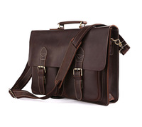 Handmade vintage cowhide commercial oil leather casual laptop bag man shoulder bag genuine leather cross-body bag 7105