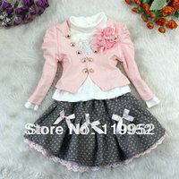 Children clothing set fashion girls flower 3 pcs suit coat+t-shirt+skirt autumn baby set Retail