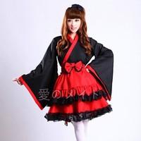 Halloween Classic black and red lolita vintage kimono cosplay high quality maid dress women robe costume cosplay
