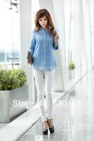 2014 New hot autumn fashion Women Blouse Clothes Plus size Casual Career shirt Korean Women 3/4 Sleeve office Tops