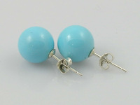 10mm round shell pearl sterling silver studs earrings ,2013 new arrivals