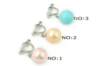 non-pierce clip earrings, Silver toned 10mm round shell pearl clip earrings on sale