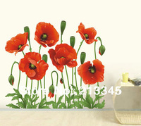 [Saturday Mall] -fashion new products red poppies flower decal bedroom decor wall stickers home art pvc removable wallpaper 4027