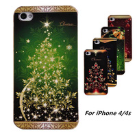 New Fashion Christmas Tree Painted Design Case for iphone 4 4G 4S/High Quality/Fireworks/Flower Case
