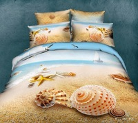Yellow Beach shells Ocean oil painting 3d bedding set queen size 100%cotton bedclothes comforter/quilt/duvet cover bedsheet sets