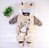 Cartoon Animal Style Cotton-Padded Baby's Romper Cows Warm Body Suit Autumn and Winter Clothing