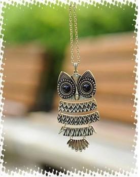 1 piece Free shipping vintage bronze owl pendant necklace