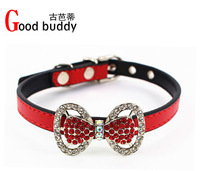 Good buddy New arrivals! bling bowknot pet collars 6colors crystal dog collars pet products for choose