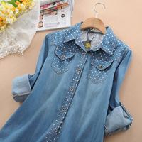 New 2014 Plus size Autumn Summer Denim Blouse Women's Long-Sleeve Shirt Fashion Loose Cotton outerwear