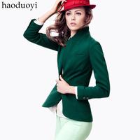 new 2014 autumn women fashion deep green female jacket slim casual suit women blazer chaqueta plus size casaco abrigo femininas