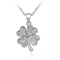 Factory in fine jewelry manufacturing high-end full rhinestone lucky four-leaf clover pendant  necklace gold silver plated 067