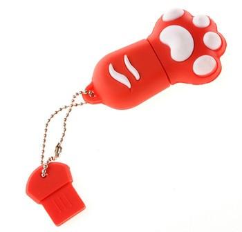 Free shipping trans show 8GB 4 color cat's paw usb flash drive 2.0 flash Mini cartoon character TS-gx0008