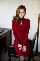Women 2013 autumn and winter fashion hollow chest elegant  high collar Slim hypotenuse dress   long sleeve clothes 3 colors