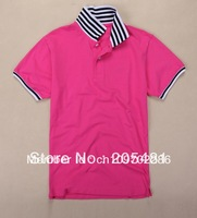 Free shipping men's   short  sleeve polo shirt casual tshirt  5% spandex   tee