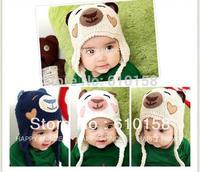 Retail Free Ship 100% Handmade Children Winter Crochet Hats Various Animal Styles Baby bear Beanie hat 3 color Kids Caps DH00030