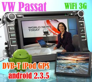 KS7136 7 inch 2 din vw passat skoda radio stereo audio car dvd player with GPS Sat Nav Android OS car pc pad+DVB-T iPod WiFi 3G