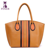 FOXER new 2014 women leather handbags designer brand cowhide vintage handbag female shoulder bags ladies genuine leather totes