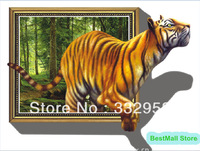 Free Shipping 2013 Tiger big 3D effect wall sticker Animal Removable Wall Stickers sofa TV background