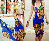 FREE SHIPPING Deep V Wrap Chiffon Swimwear Bikini Cover Up Sarong Beach Dress